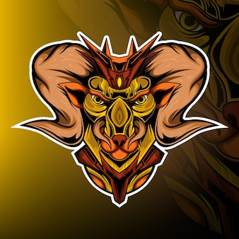 Козел монстр игровой талисман логотип вектор