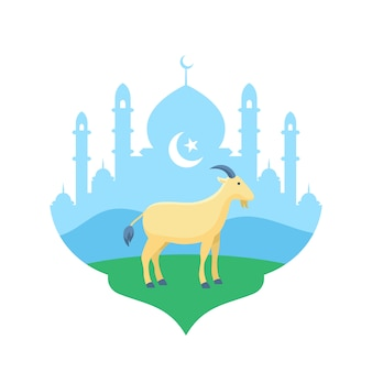 Goat at mosque courtyard vector flat illustration