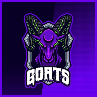 Goat ram sheep mascot esport logo design illustrations vector template, aries logo for team game streamer banner discord