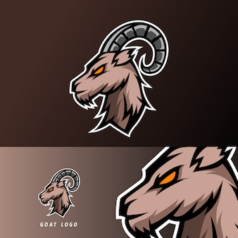 Goat sheeep mascot sport esport logo template black fur green horn