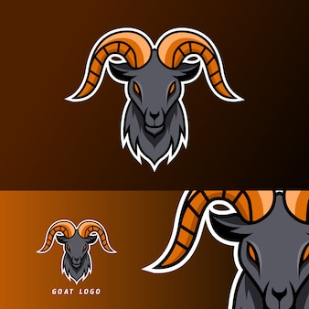 Goat sheeep mascot sport gaming esport logo template black fur green horn for squad team club