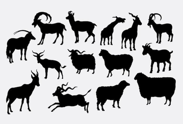 ヤギの羊と鹿の動物のシルエット