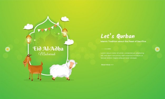 Goat and sheep character for eid al adha mubarak greeting concept