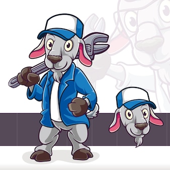 염소 양 서 과학자 마스코트 만화 캐릭터 프리미엄 벡터