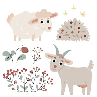 Goat and sheepagricultureautumn atmosphereillustration for childrens book