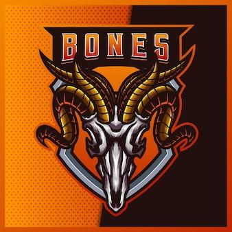 ヤギの頭蓋骨のeスポーツとスポーツマスコットのロゴデザインとモダンなイラスト。ヤギの頭蓋骨のイラスト