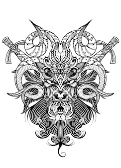 Goat skull in ink graphics technique