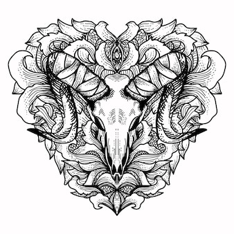 Goat skull with floral love ornament