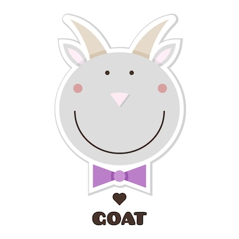 Goat. sticker. vector illustration.