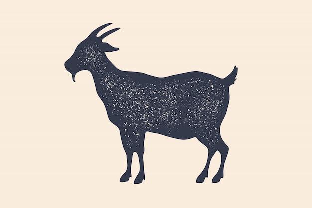 山羊。ヴィンテージのロゴ、レトロなプリント、肉屋のポスター