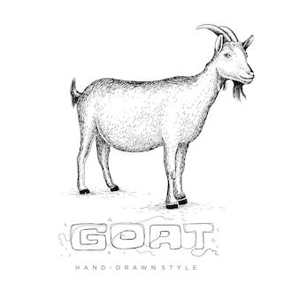 Коза со стилем в руке рисунок, животное иллюстрация выглядит реалистично, черно-белое резюме