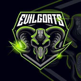 Goats esport logo template design vector illustration