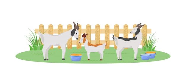 Козы в саду плоского цвета персонажа