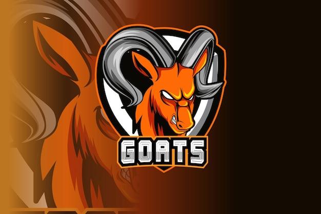 スポーツのヤギのマスコットと暗い背景に分離されたeスポーツのロゴ