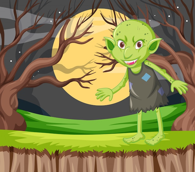 Goblin in standing position in cartoon character on background