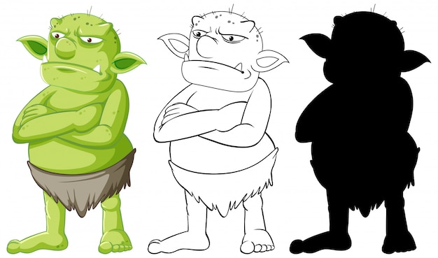 Goblin or troll in color and outline and silhouette in cartoon character on white background