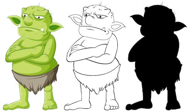 Folletto o troll a colori e contorni e silhouette in personaggio dei cartoni animati su sfondo bianco