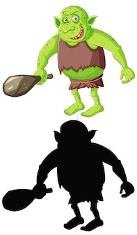 Goblin or troll in color and silhouette in cartoon character on white