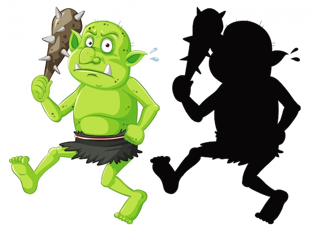 Goblin or troll holding hunting tool in color and silhouette in cartoon character on white background