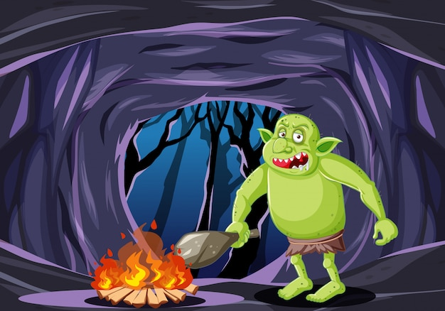 Goblin or troll with fire cartoon style on dark cave background