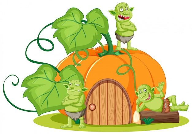 Goblin or troll with pumpkin house in cartoon style isolated
