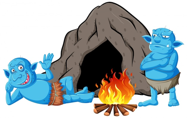 Goblins or trolls with cave house and camp fire in cartoon style isolated