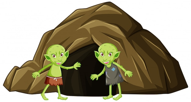 Goblins with cave in cartoon character on white background