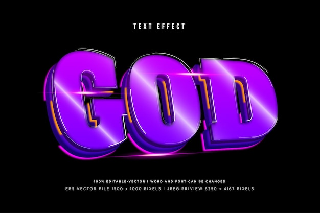 God 3d text effect on black