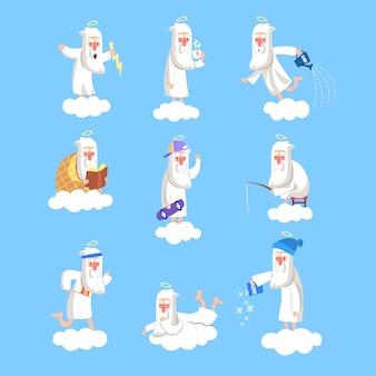 クラウド上で動作する神のキャラクター。クリエイターの日常の定型文のセット。天の営業日。本、カード、ポスター、ソーシャルネットワークのイラスト。