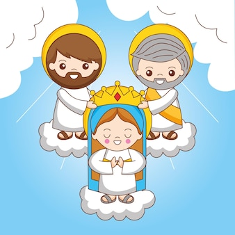 God and jesus christ with holy mary with crown between sky. coronation of maria santisima as queen of all creation, cartoon illustration