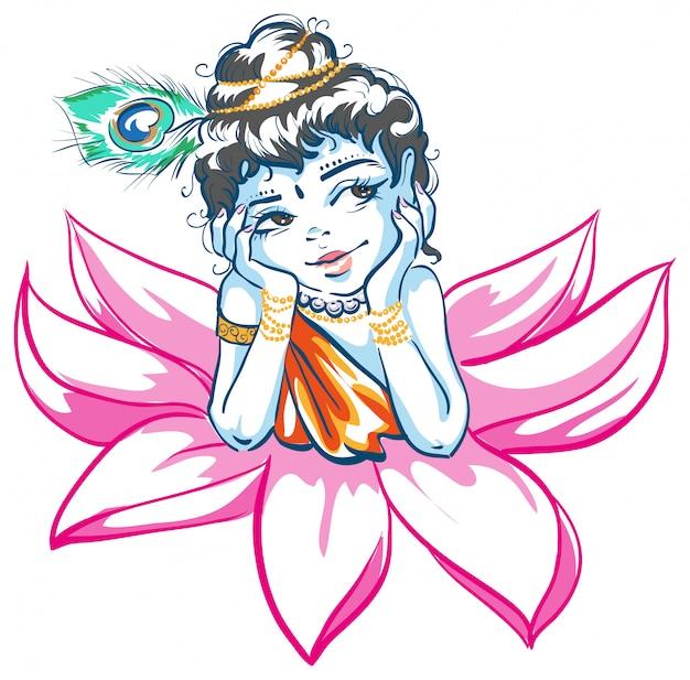 蓮の花の神クリシュナ