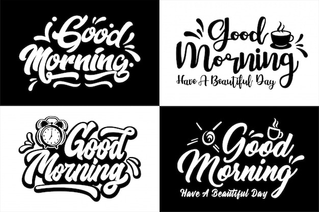 God morning lettering  design set