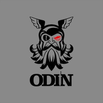 Шаблон логотипа талисмана бога одина для персонажа