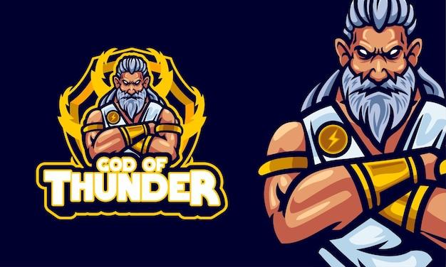 God of thunder sports logo mascot illustration