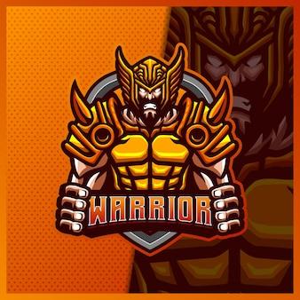 Шаблон дизайна логотипа киберспорта талисмана воина-гладиатора-бога-викинга, логотип римского рыцаря