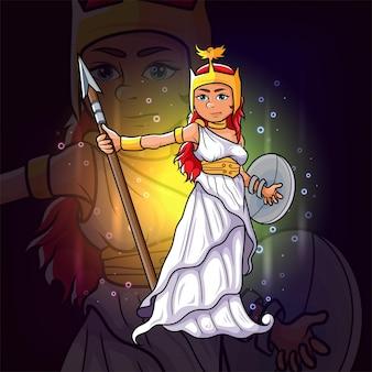 The goddess of athena for esport mascot design of illustration