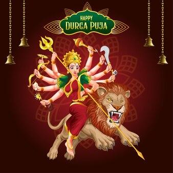 Goddess durga in attacking pose navratri festival premium vector