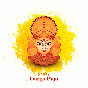 Goddess durga face in happy durga puja card background