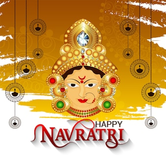 Goddess durga face and subh navratri festival