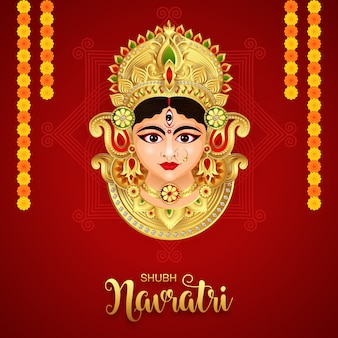 Goddess durga in happy durga puja subh navratri happy dussehra festival indian religious banner background