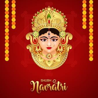 Goddess durga in happy durga puja subh navratri happy dussehra festival indian religious banner background