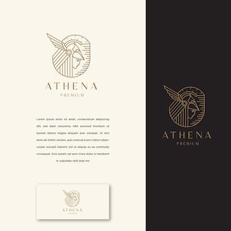 Богиня греческой афины линии искусства логотип значок дизайн шаблона. элегантный, роскошный