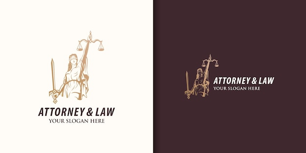 Goddess of justice, attorney and law logo design