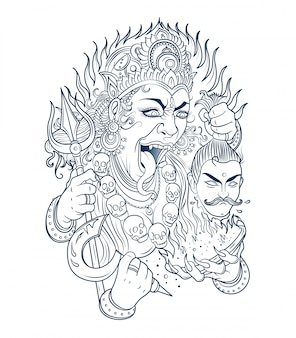 Goddess kali cuts off the head of a giant