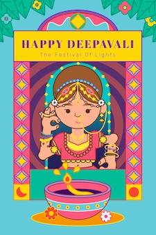 The goddess lakshmi diwali festival background vector