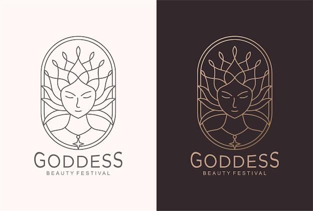 ラインアートスタイルの女神のロゴデザイン。