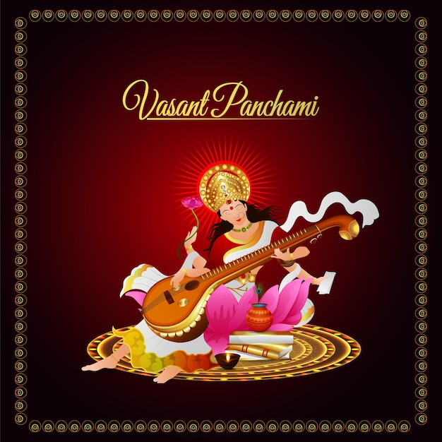 Goddess saraswati illustration and background