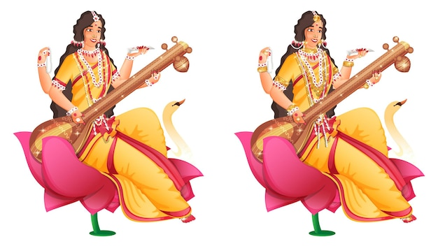 Персонаж богини сарасвати маа на цветке лотоса в двух изображениях