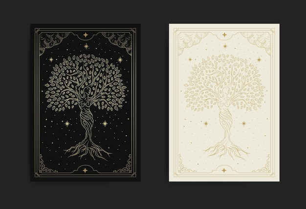 Goddess of tree dancing at the mystical night full of star
