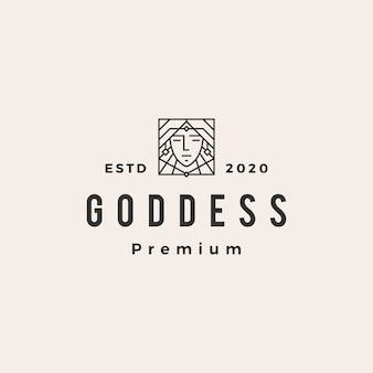 Goddess  vintage logo  icon illustration